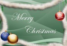 Merry Christmas greeting card. Christmas greeting card with text Merry Christmas - Green abstract background - Three Christmas balls stock illustration