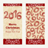 Merry Christmas greeting card. Abstract Happy New Year 2016 background.  Hand drawn inscription. Vector illustration Royalty Free Stock Image