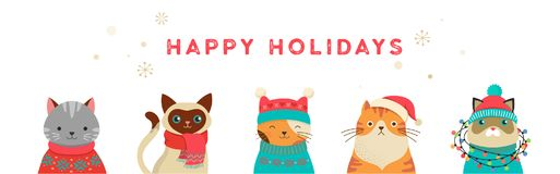 Merry Christmas Greeting Card And Banner With Cute Cats Characters, Vector Collection Royalty Free Stock Image