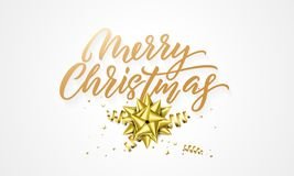 Merry Christmas greeting card background design template of golden glittering hand drawn calligraphy quote text, decoration star a. Gold Christmas greeting card vector illustration