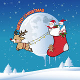 Merry christmas greeting card and background. Santa Claus with reindeer flying across the sky on Christmas night Royalty Free Stock Photos