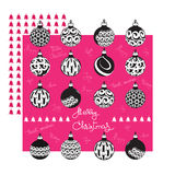 Merry Christmas greeting card with balls and handwritten words. Merry Christmas greeting card with flat black white ornate balls and handwritten words on a pink Stock Photography