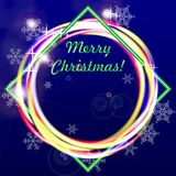 Merry Christmas greeting card or banner. Dark blue background and glowing rings. Vector illustration Royalty Free Stock Photo