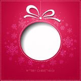 Merry Christmas greeting card with bauble. Paper Royalty Free Stock Images