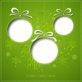 Merry Christmas greeting card with bauble. Paper Stock Images