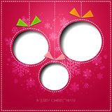 Merry Christmas greeting card with bauble. Paper Stock Image