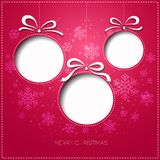 Merry Christmas greeting card with bauble. Paper Royalty Free Stock Photos
