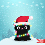 Merry Christmas greeting card with a black cat. Merry Christmas greeting card background with a black cat. Holiday vector illustration Stock Photo
