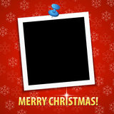 Merry Christmas greeting card with blank photo frame Royalty Free Stock Photo