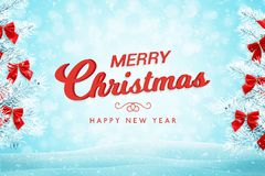 Merry Christmas greeting card on blue background with snowflakes stock illustration