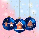Merry christmas greeting card with blue balls. royalty free illustration