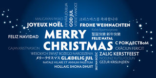 Merry christmas greeting card - blue. Merry christmas greeting card in different languages Royalty Free Stock Photography