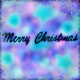 Merry Christmas greeting card. Blue&purple blurry background with rime decoration, abstract festive ornament Royalty Free Stock Images