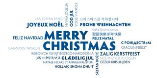 Merry christmas greeting card - blue and white. Merry christmas word cloud in different languages blue and white greeting card vector illustration