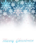 Merry Christmas greeting card border. Merry Christmas greeting card, abstract festive border, beautiful snowflakes illustration on blue background with text Stock Image
