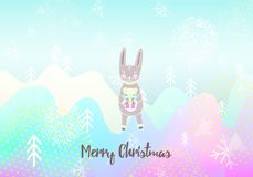 Merry Christmas greeting card with bunny. Typography. Colorful design. Cute rabbit with gift. Winter Background. vector. Merry Christmas greeting card with Stock Photography