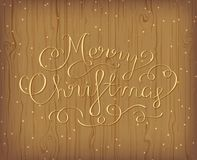 Merry Christmas Greeting Card. Calligraphic Hand Lettering. Design card template. Wooden background with lights. Vector illustration Royalty Free Stock Images