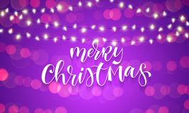 Merry Christmas greeting card calligraphy and Christmas lights garland on sparkling bokeh light background with blur. Vector festi. Ve shine and calligrpahy hand Stock Photos