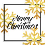 Merry Christmas. Greeting card with Merry Christmas calligraphy and gold glitter snowflakes. Festive background for Stock Images