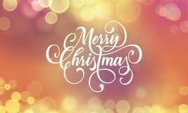 Merry Christmas greeting card and calligraphy lettering on festive sparkling   Stock Images