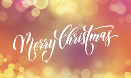 Merry Christmas greeting card vector golden light blur New Year sparkling background Stock Image