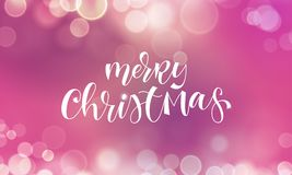 Merry Christmas greeting card and calligraphy lettering on festive sparkling snowflakes light with blur bokeh effect. Vector Chris. Tmas winter holiday quote Royalty Free Stock Images