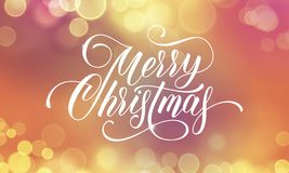 Merry Christmas greeting card and calligraphy lettering on festive sparkling snowflakes light with blur bokeh effect. Vector Chris. Tmas winter holiday wish text Royalty Free Stock Photo
