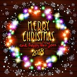 Gold Merry Christmas and Happy New Year black shine background with decoration on golden light stars confetti. Vector illustration. Merry Christmas. Greeting Stock Images