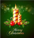 Merry christmas greeting card with candles. And decorative elements Royalty Free Stock Image