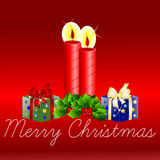 Merry Christmas greeting card candles and presents Royalty Free Stock Photos