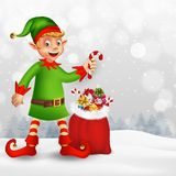 Merry Christmas greeting card with cartoon elf stock illustration