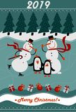 Merry Christmas and Happy New Year 2019 greeting card royalty free illustration
