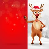 Merry Christmas greeting card with cartoon reindeer royalty free illustration
