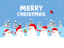 Merry Christmas. Greeting card with cartoon snowmen and winter birds Stock Image