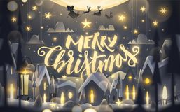Merry Christmas greeting card in cartoon style. stock illustration