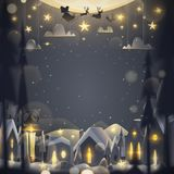 Merry Christmas greeting card in cartoon style. royalty free illustration
