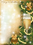 Merry Christmas greeting card with champagne Royalty Free Stock Images