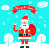 Merry christmas greeting card with the cheerfull santa claus Royalty Free Stock Photography