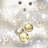 Merry Christmas greeting card with Christmas balls Stock Image