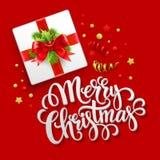 Merry Christmas greeting card. Christmas gift box Royalty Free Stock Photos