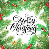 Merry Christmas greeting card of Christmas pine or fir tree and holly branches, golden decoration, stars and lights on white backg. Round. Vector calligraphy Royalty Free Stock Images