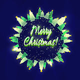 Merry Christmas greeting card. Christmas snow-covered trees. Dark blue background and shining, bright stars. Merry Christmas greeting card. Christmas snow Royalty Free Stock Images