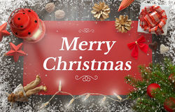 Merry Christmas greeting card with christmas tree, gift, decorations Stock Photos