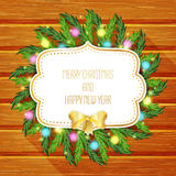 Merry Christmas greeting card  with christmas tree and golden bow Stock Photography