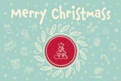 Merry christmas greeting card with christmas tree. Hand drawn vector merry christmas greeting card with christmas tree Royalty Free Stock Photos