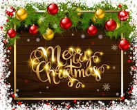 Merry Christmas. Cold Lettering Royalty Free Stock Image