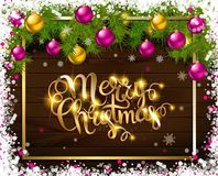 Merry Christmas. Cold Lettering Royalty Free Stock Photo