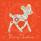 Merry Christmas greeting card. Colorful floral Royalty Free Stock Images