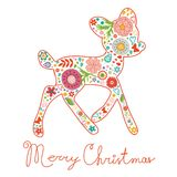 Merry Christmas greeting card. Colorful floral Stock Image