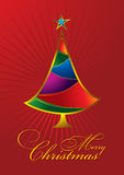 Merry Christmas Greeting Card with colorful tree Royalty Free Stock Photos